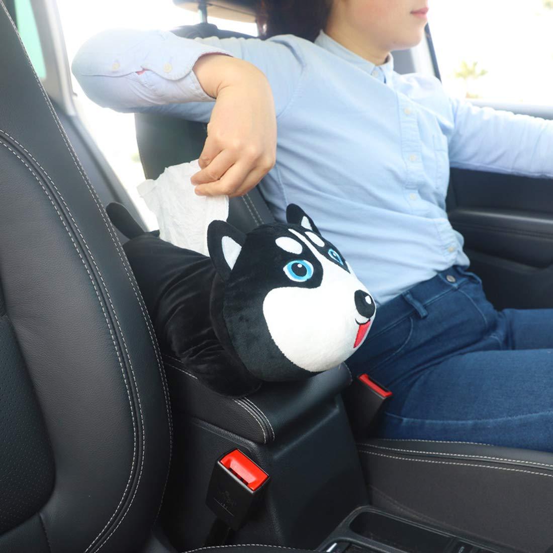 Ewindy Creative Car Armrest Box Cartoon Tissue Box Multifunctional Cute Plush Animal Car Tissue Cover Car Interior Products Car Accessories Beige Bear, As Description