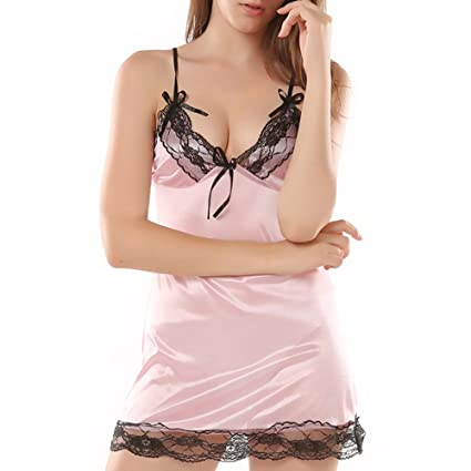 59336e5791 Annhoo Big Women Sexy Lingerie V Neck Sleepwear Satin Nightwear Lace Chemise  Mini Teddy(M