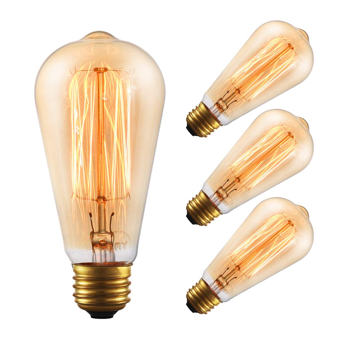 4-Pack Vintage Amber Glass Tungsten Edison Light Bulb ST64 60W Warm White 2200K, GMY Lighting