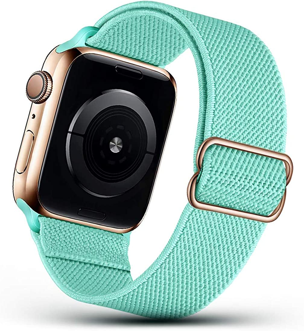 DSEHNGMEI Adjustable Stretch Stretchy Nylon Solo Loop Bands Compatible with Apple Watch 42mm 44mm, Braided Sport Elastics Women Men Strap Compatible with iWatch Series 6/5/4/3/2/1 SE,