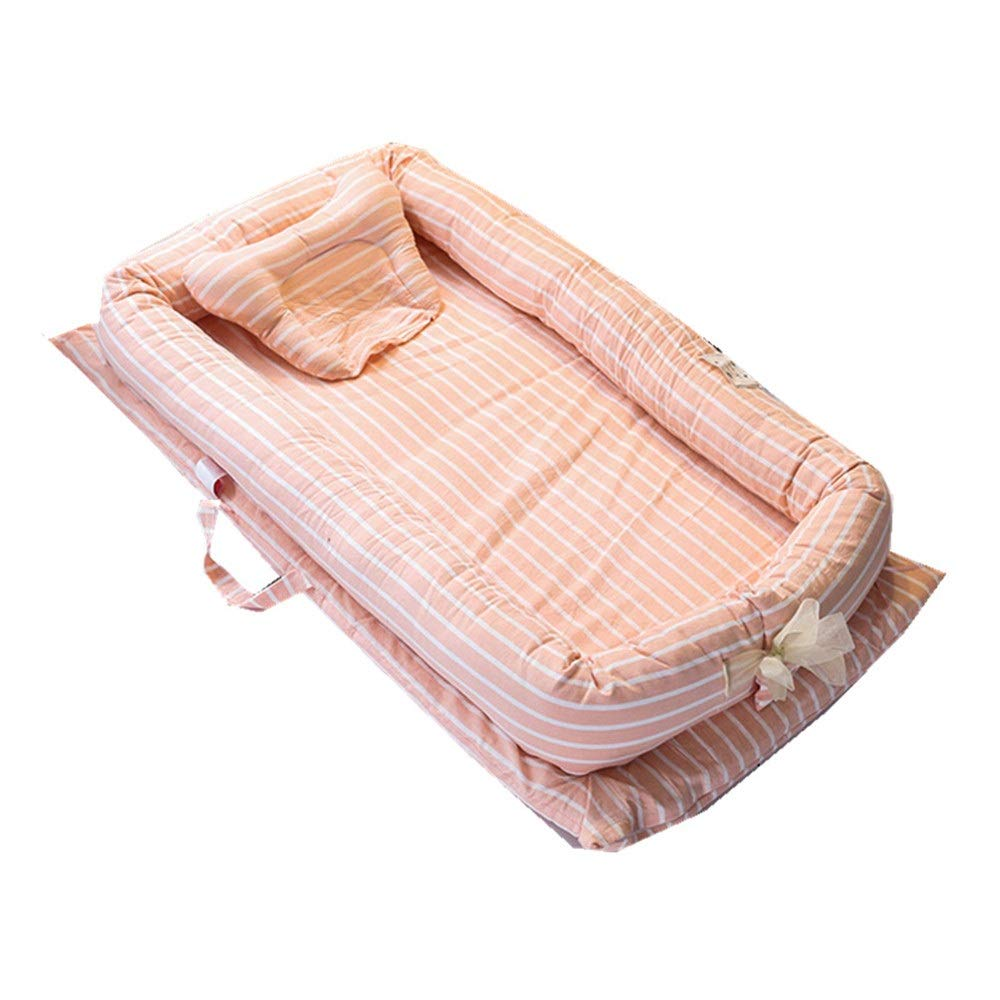 Baby Sleeper Cot Bed Strips Design Baby Girls Snuggle Nest With Pillow Quilt Handle Transporter Sleeping Basket Bassinet For Bed Cartoon Bear Design Portable Cotton Crib For Bedroom Travel Infant Newb