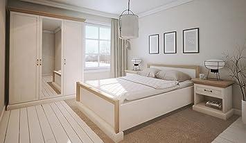 Schlafzimmer Komplett   Set E Badile, 4 Teilig, Farbe: Kiefer Weiß /