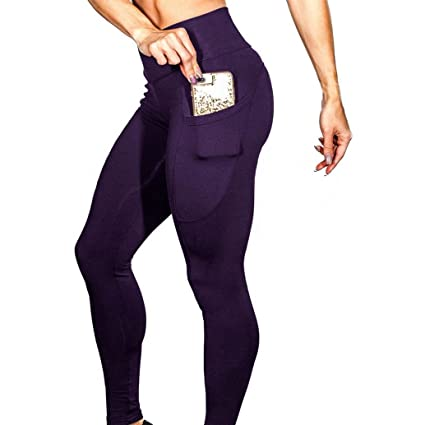 b98bfebfa3dc4 Amazon.com : ❤ ❤️Egmy ❤ Clearance ❤ Women's Solid Workout Leggings Fitness  Sports Gym Running Yoga Athletic Pants (M, Purple) : Garden & Outdoor