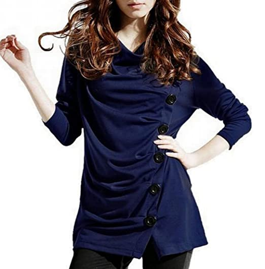e28c4953100c6b Jaycargogo Womens Button Decor Cowl Neck Casual Slim Tunic Tops Ruched Long  Sleeves T Shirt Blouse