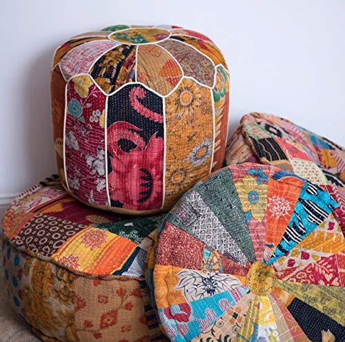 RANGILA Stuffed Indian Vintage Kantha Assorted Patch Floor Cushion; Pouf Ottoman; Round Pouf by MARUDHARA (Image #5)