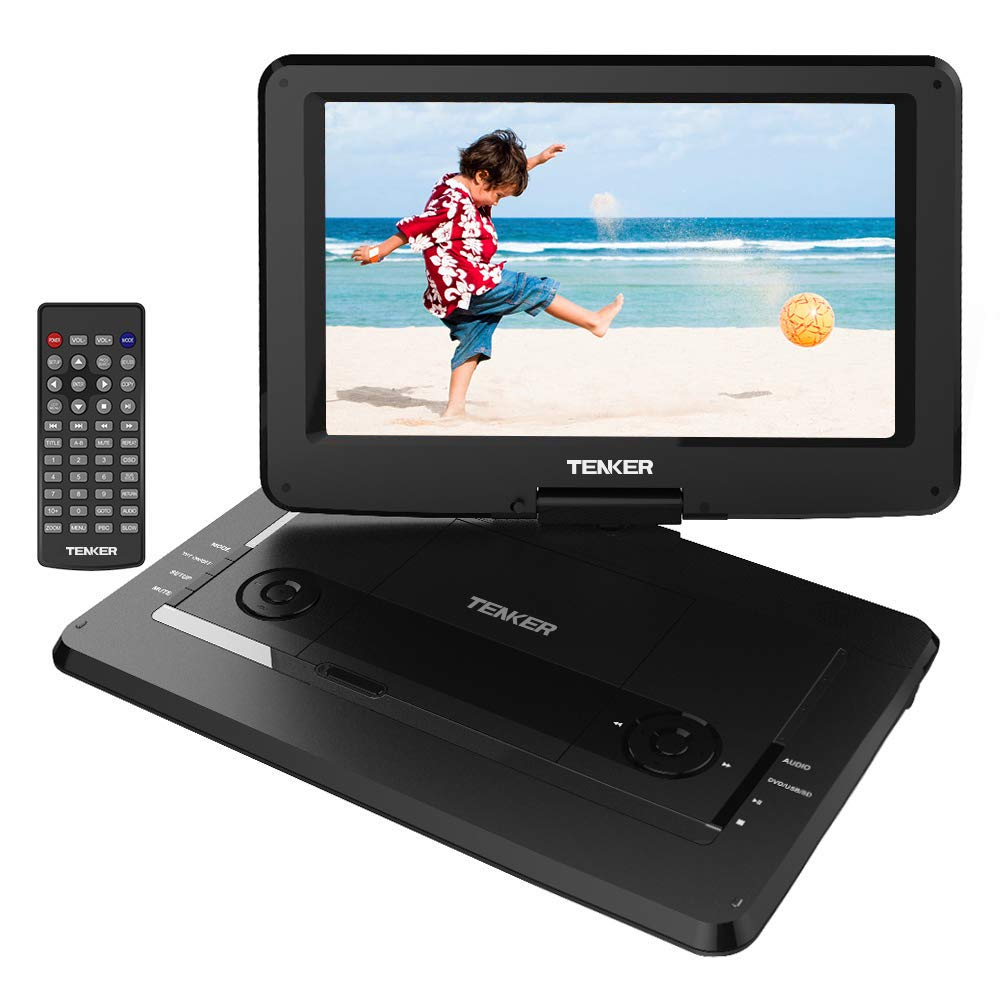 TENKER 14'' Portable DVD Player with Swivel Screen, 3 Hours Rechargeable Battery with SD Card Slot and USB Port, Black