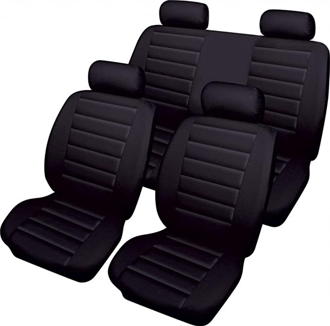 XtremeAuto Airbag ready Leather Look Beige//Black Styling Cream Car Seat Covers