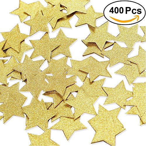 Aonor 2 Packs Glitter Gold Star Confetti for Table Decor, Baby Shower, Birthday Party Decorations, 1.2