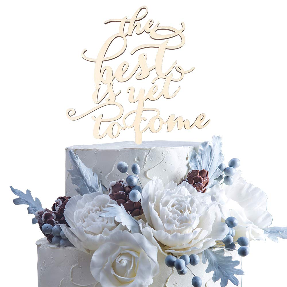 The Best Is Yet To Come Wood Monogram Cake Topper Rustic Love Wedding Anniversary Bridal Shower Gift Ideas Decor.