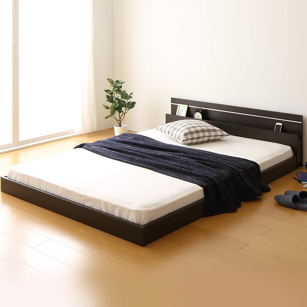 日本製 フロアベッド 照明付き 連結ベッド ダブル (SGマーク国産ボンネルコイルマットレス付き) 『NOIE』ノイエ ダークブラウン 【子供に優しいウレタン入り合皮レザーベッド】 B077D7WYVZ