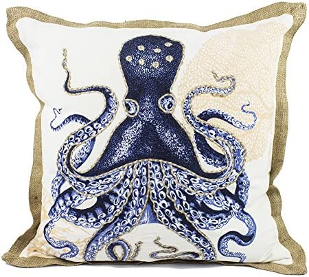Fennco Styles Home D cor Sea-Inspired Space Decorative Down Filled 100 Cotton Throw Pillow – 20 Square Octopus