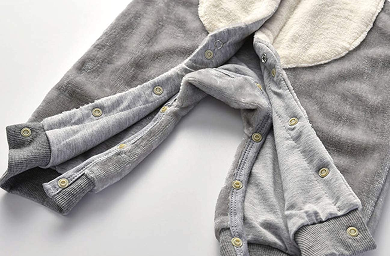 Newborn Unisex Baby Winter Thicken Romper Cotton Cute Fox Shape Hooded Bodysuit