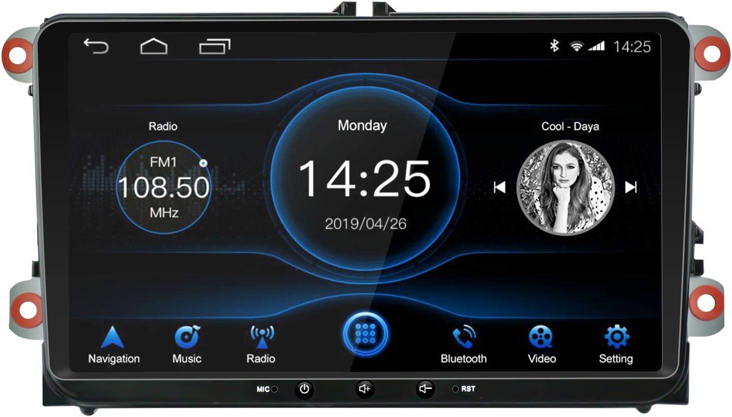 EZoneTronics 1DIN Android 8.1 Car Radio Estéreo 9 pulgadas Pantalla táctil IPS Navegación GPS de BT WFI USB AM FM Player 2G RAM+32G ROM para VW Passat Golf MK5 MK6 Jetta T5 EOS POLO Touran Seat Sharan