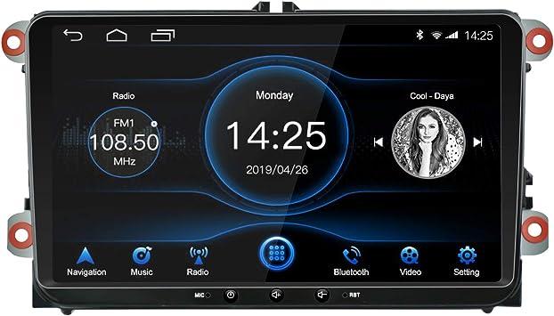 EZoneTronics 1DIN Android 8.1 Car Radio Estéreo 9 pulgadas Pantalla táctil IPS Navegación GPS de BT WFI USB AM FM Player 2G RAM+32G ROM para VW Passat ...