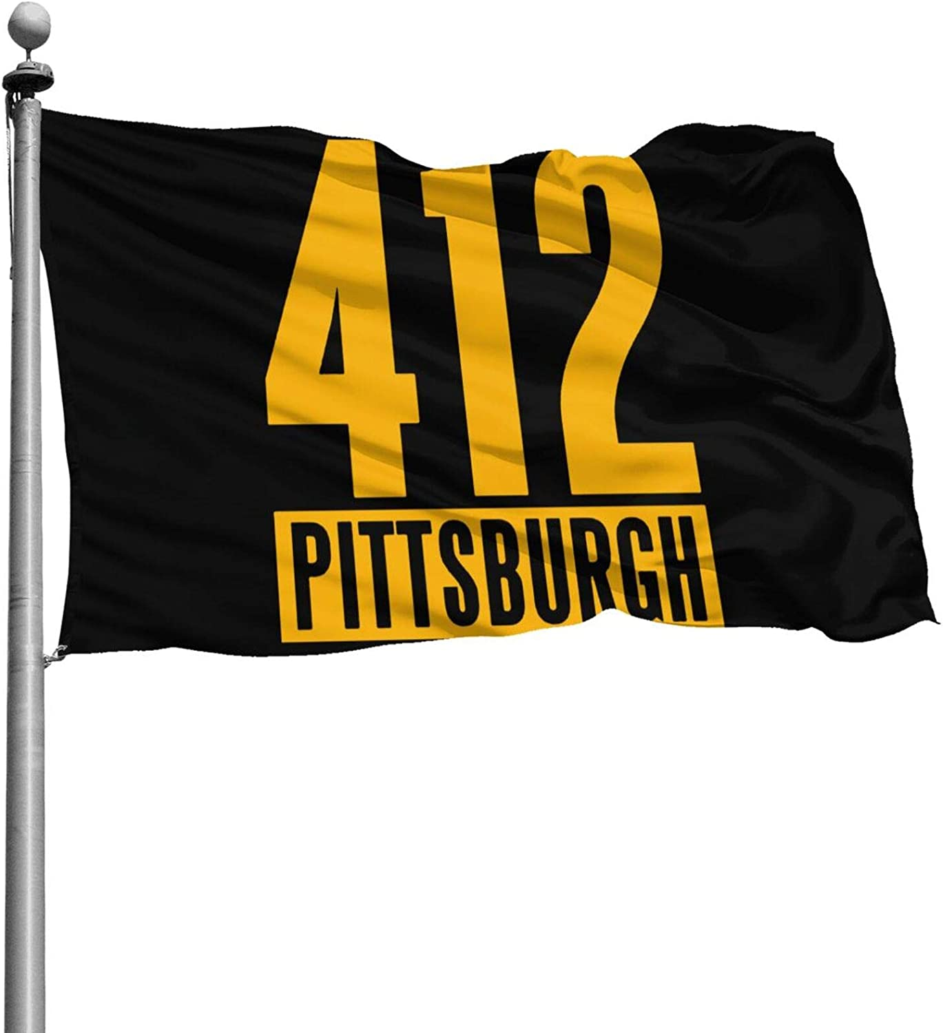 MRCLJA Cool 412 Pittsburgh Flag Fade Outdoors Flags Resistant Indoors Flags