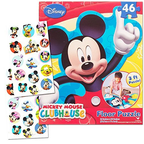Sheets Mouse Clubhouse Mickey (Disney Mickey Mouse Giant Floor Puzzle for Kids (3 Foot Puzzle, 46 Pieces-- Bonus Mickey Mouse Stickers))