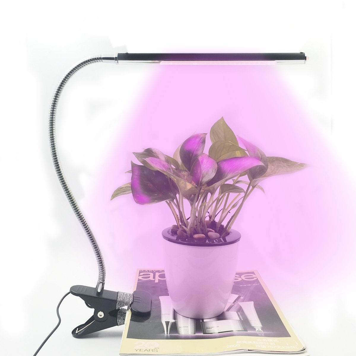 Led Grow Light,YMCCOOL Clip grow Lamp,3-Level Dimmable Full Spectrum Grow Light for indoor Plants with US Adapter, 57 Inch Cable (5W,Full Spectrum)