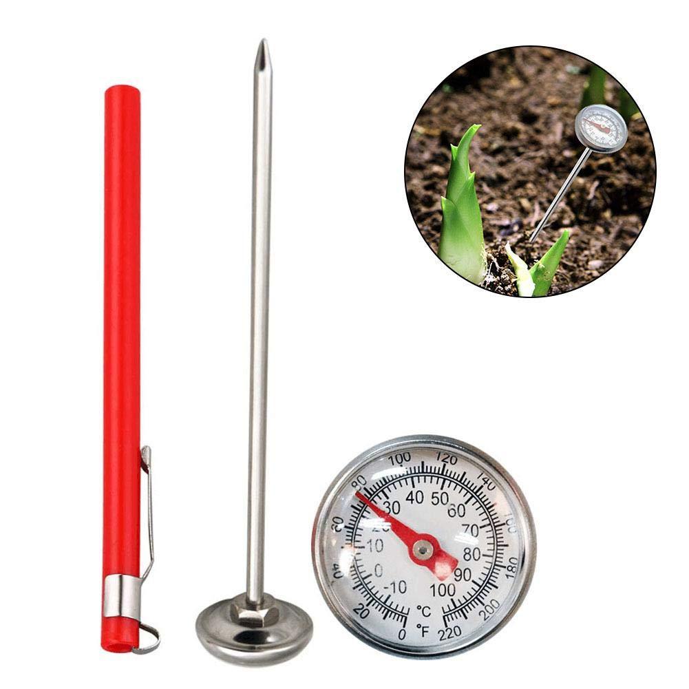 Term/ómetro de Compost de Acero Inoxidable Esfera de 27 mm zebroau f/ácil de Leer term/ómetro de Esfera Varilla de 127 mm para compostaje dom/éstico y Suelo de jard/ín