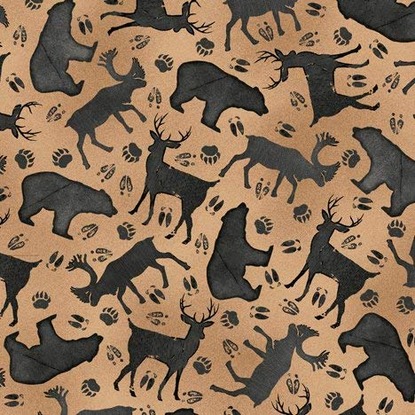 Wildlife Fabric Moose Trail Lodge Silhouettes in Tan from Quilting Treasures 100% Premium Quality Cotton Fabric by The Yard