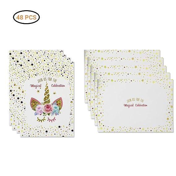 Faviye 24pcs Tarjetas de invitación de Unicornio Estampado ...