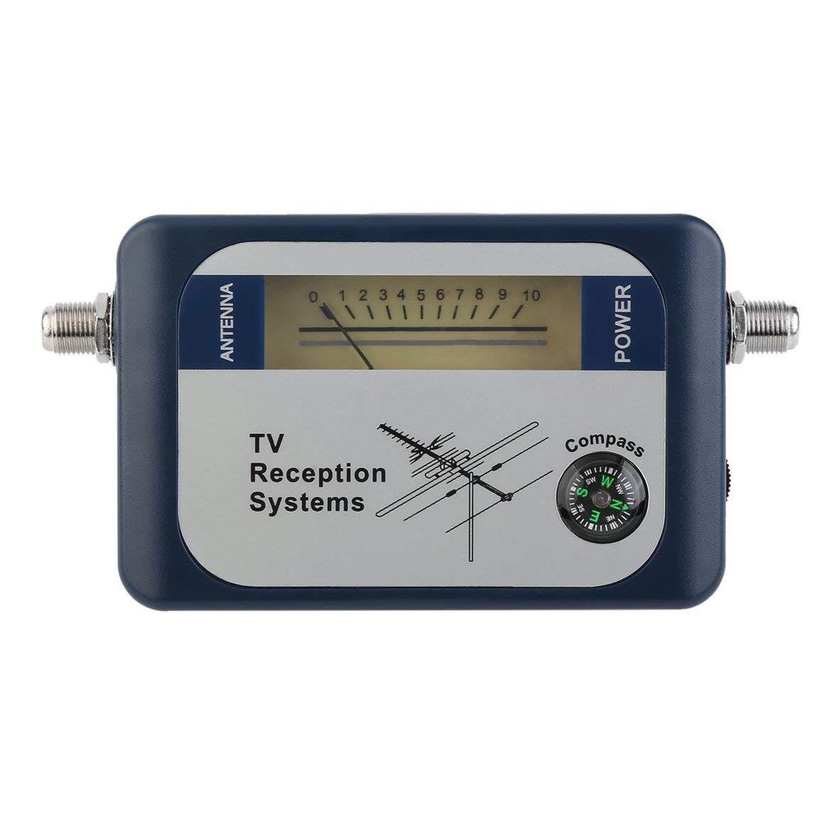 Couleur: Bleu Funnyrunstore DVB-T Finder Antenne Num/érique Terrestre TV Antenne Signal Puissance Force Compteur Pointeur TV Syst/èmes de R/éception avec Boussole