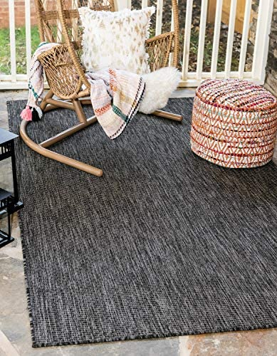 Unique Loom Outdoor Solid Collection Casual Transitional Indoor and Outdoor Flatweave Black Area Rug 7' 0 x 10' 0