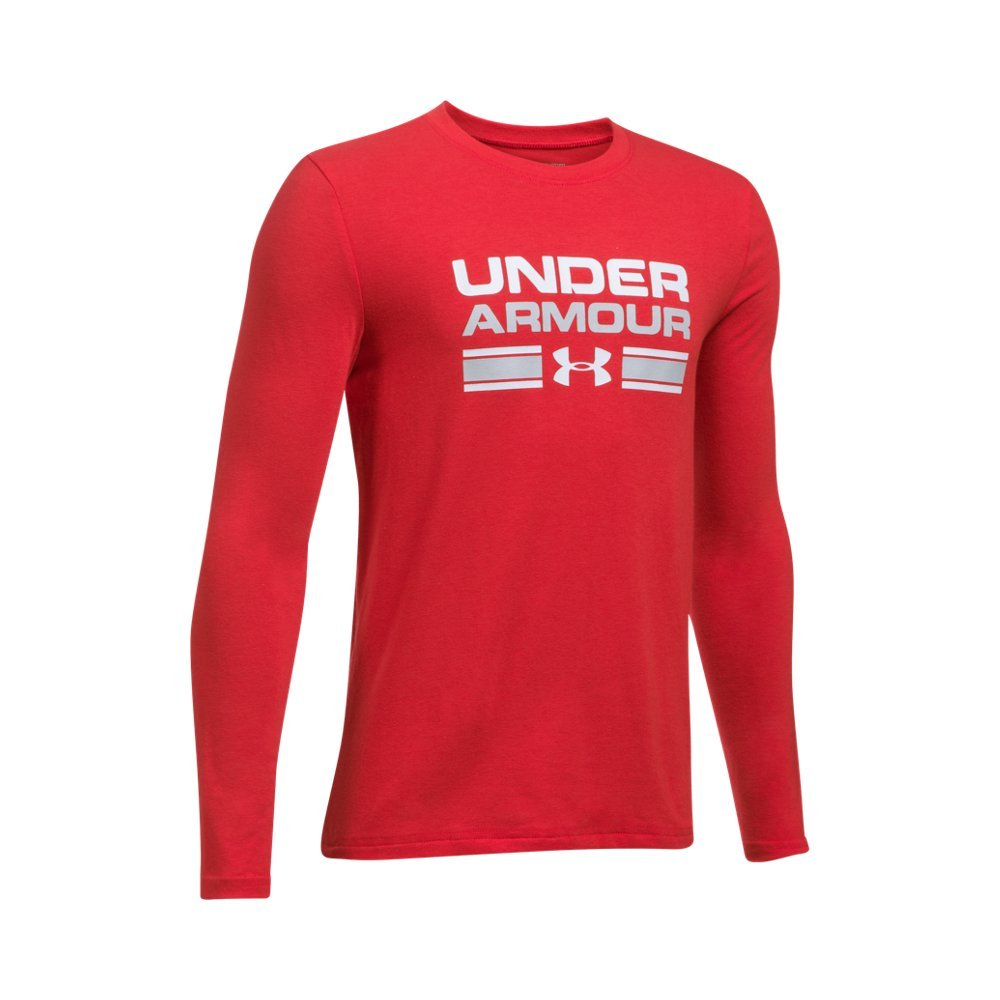 Boy's Under Armour Boys' Crossbar Logo Long sleeve T-Shirt,Red /White, Youth Large