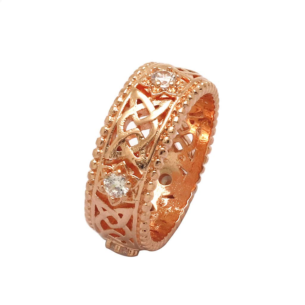 Booboda JJZ412 Ladies Wedding Ring Plated 14k White Diamond Ring Openwork Pattern Ring Daily Can Bring(Rose Gold8#)