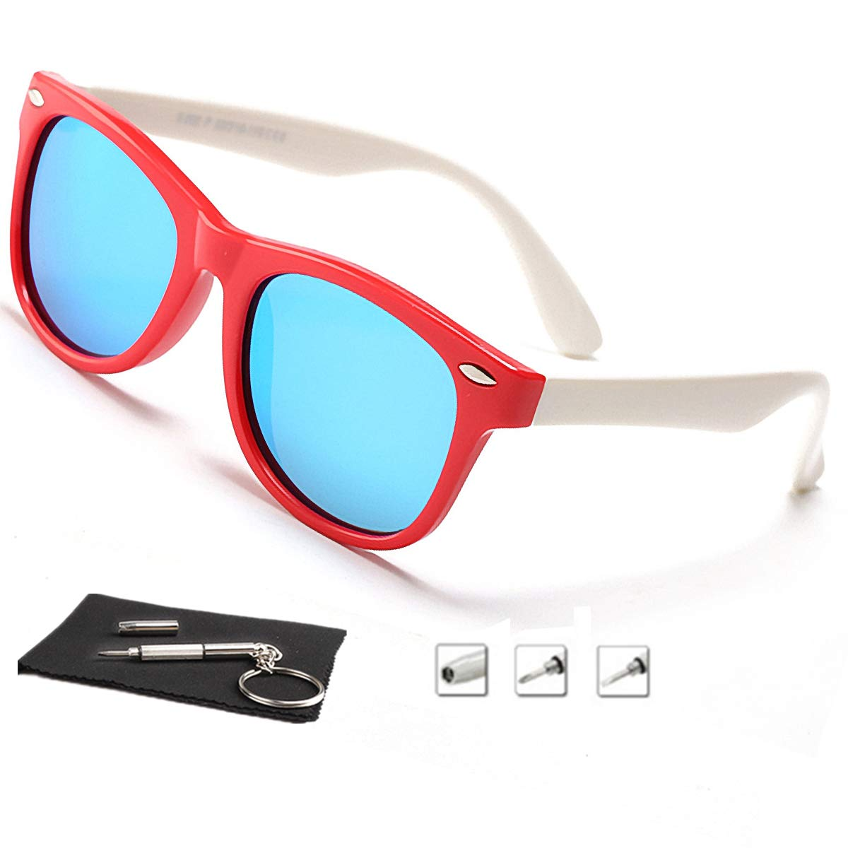 Kids Sunglasses For Kids Polarized Sunglasses Girls Child Boys Age 3-10 (Rubberized Red &White| Polarized Ice Blue)