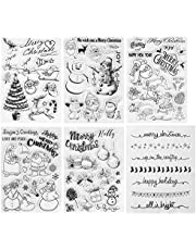 Kesoto 6 Pieces Christmas Theme Clear Stamps Scrapbooking Album Paper Cards Making Decoration