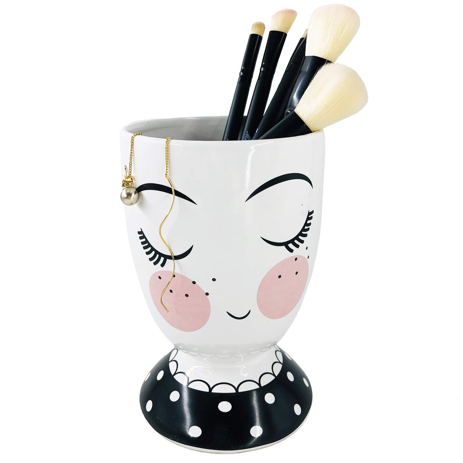 Forward Makeup Brush Holder Organizer, Cup Storage Cosmetic Tools for Vanity Countertops, Perfect for Makeup Brushes, Eyeliners and Mascaras, Also Great As Kitchen Cutlery Storage Cup White Ceramic