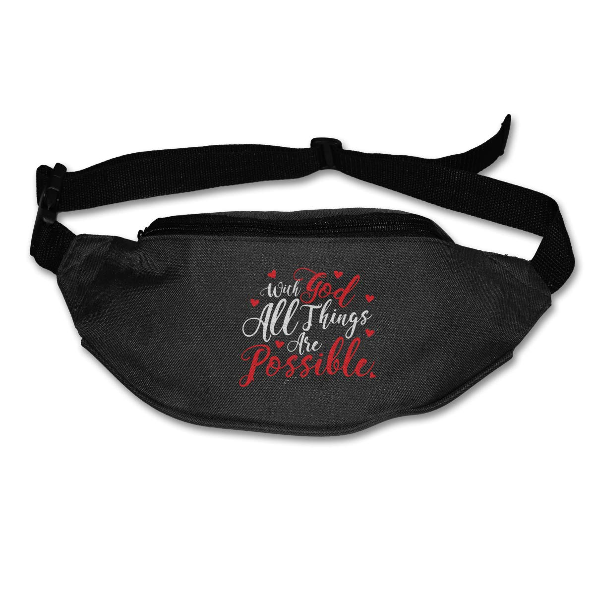 With God All Things Are Possible Sport Waist Bag Fanny Pack Adjustable For Run