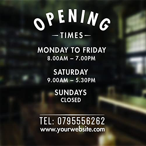 Opening hours sign opening times sign for shop window sticker v5 open closed sign business hours