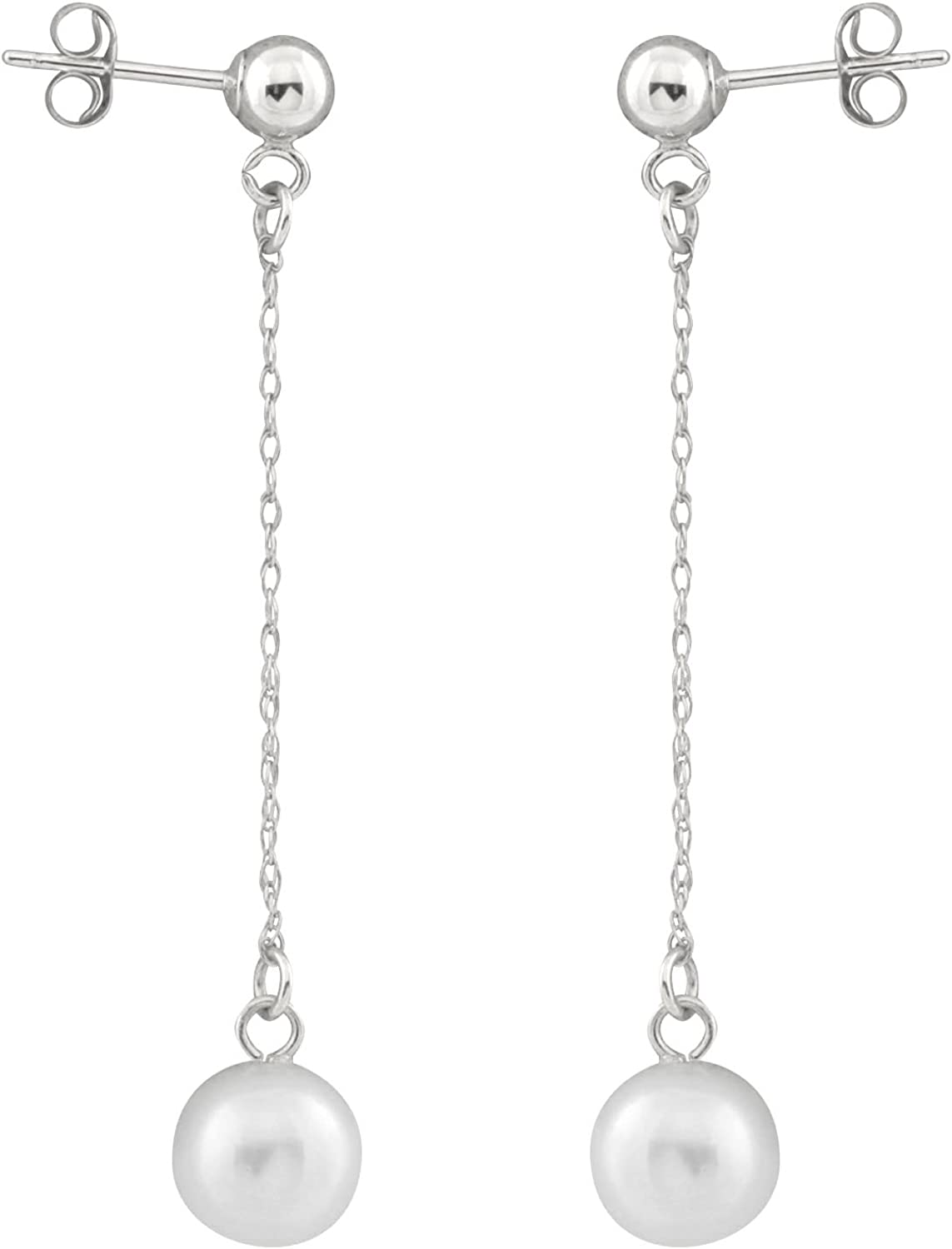 Handpicked AAA Freshwater Cultured Pearls Rhodium-Plated 925 Sterling Silver 17 8.5-9mm Necklace and 6.5-7mm Earrings Set