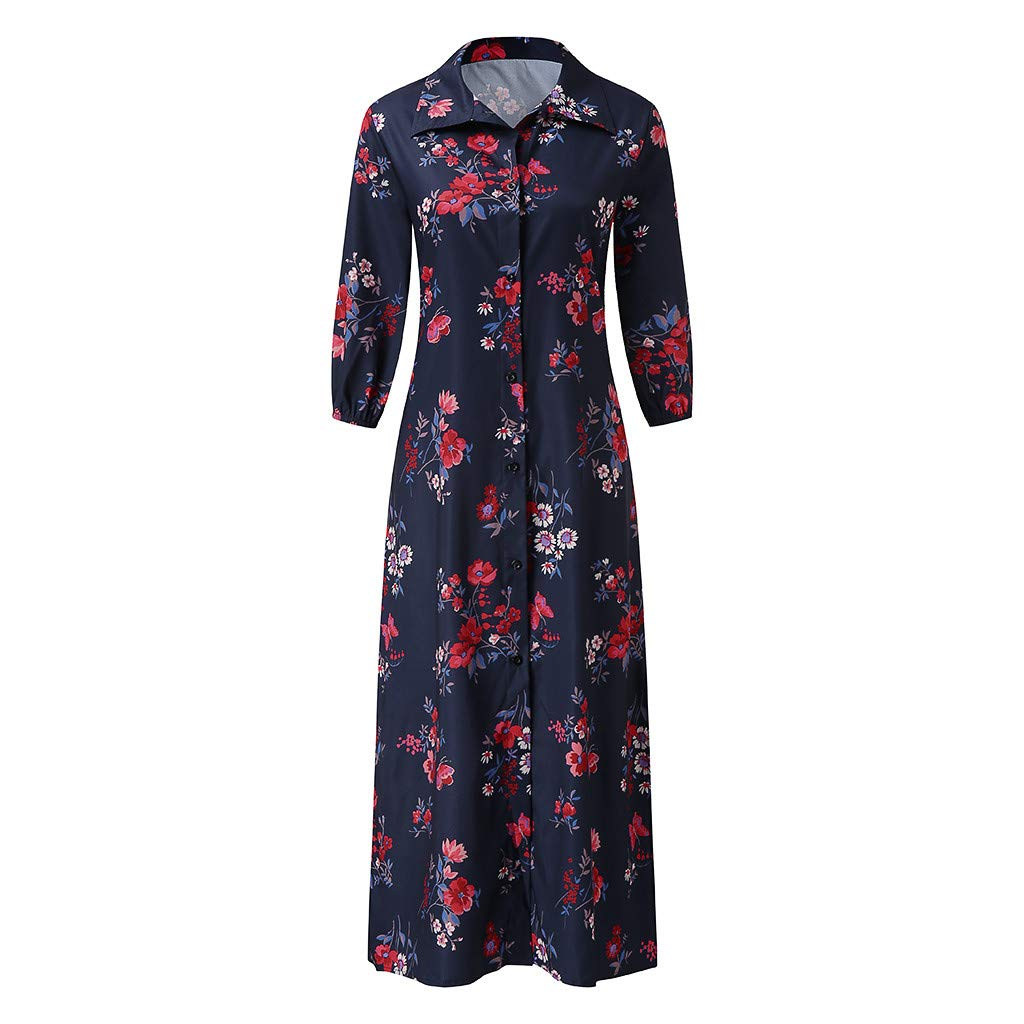 Jimmkey/_Clothing Vintage Floral Printed Maxi Dress for Womens Casual Loose V Neck Long Sleeve Shirts Long Dresses Ladies Elegant Split Hem Beach Party Gown