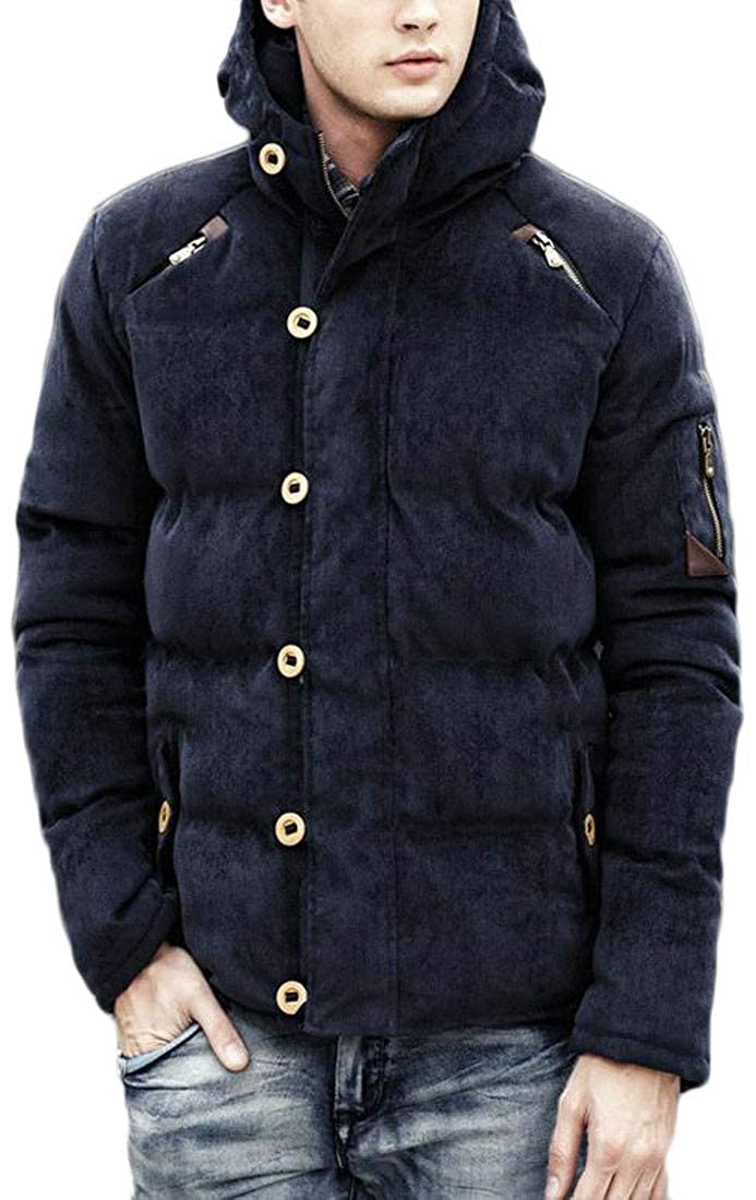 Agana Mens Quilted Corduroy Hooded Thick Outwear Winter Down Jacket Parka Coat
