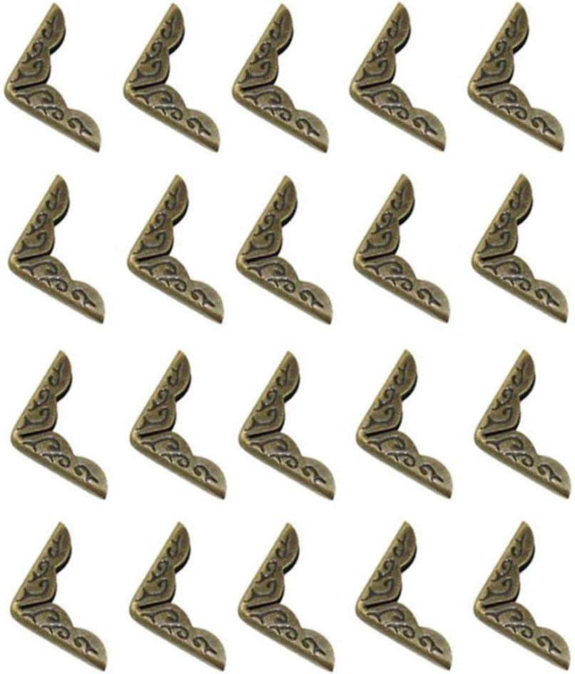 Esquina Protectora de metal,Ángulo del Paquete Antiguo,20 pcs Antiguo Decorativo Metal Muebles Esquina ángulo de Paquete de Regalo Caja de Madera de Hierro 21mm*4mm