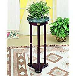 Coaster Traditional Merlot Round Plant Stand with Green Marble Top