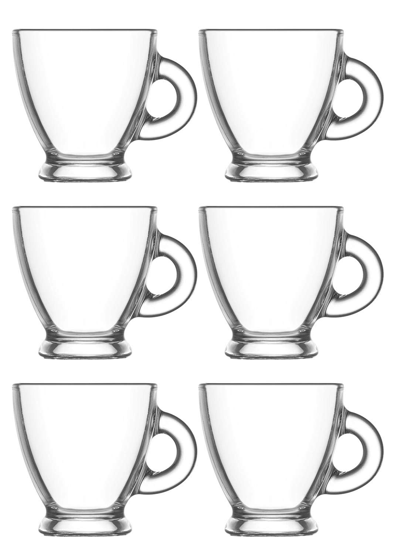 caf/é etc th/é chaud 6 unit/és id/éales pour caf/é Lot de 6 tasses avec poign/ée capacit/é 95CC tasses /à caf/é en verre transparent th/é