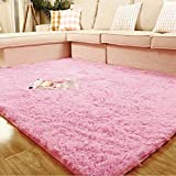 Weimanshop Soft Anti-skid Carpet Floor Mat Shaggy Rug Living Room Bedroom Decor 7 Colors 31.5' x 47' Pink