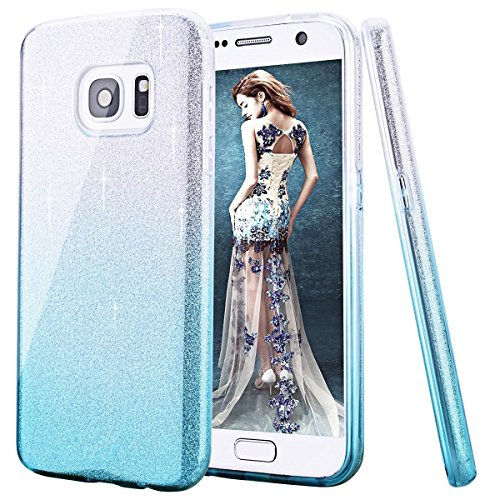 Price comparison product image Galaxy S8 Plus Case, Inspirationc 3 Layer Hybrid Semi-transparent Soft Bling Crystal Diamond Cover Case for Samsung Galaxy S8 Plus--Silver and Blue