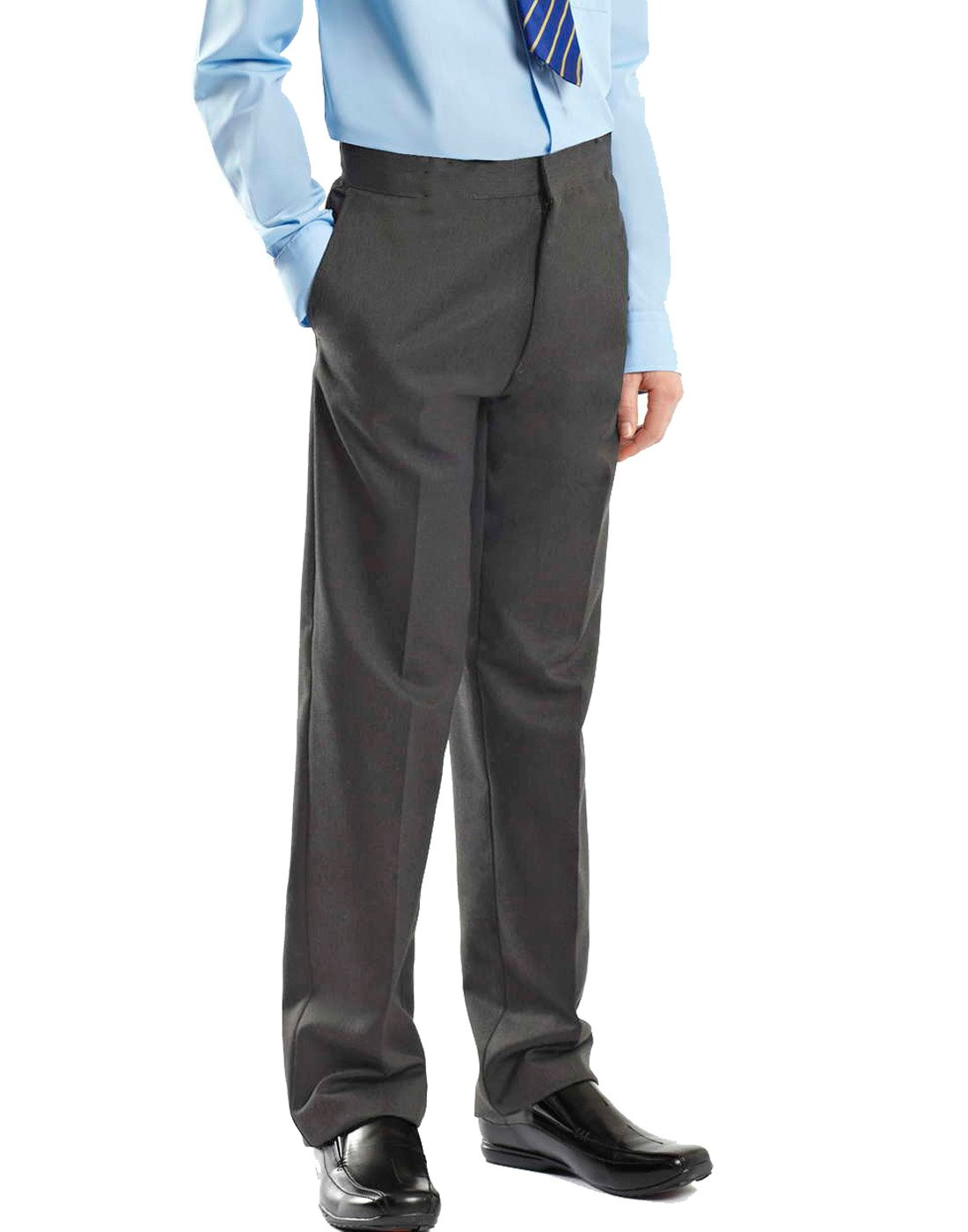 Boys School Trousers Pull Up Elasticated Waist Black Grey Uniform Trousers