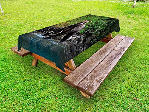 Lunarable Cabin Outdoor Tablecloth, Grizzly Brown Bear in Lake Alaska Untouched Forest Jungle Wildlife Image, Decorative Washable Picnic Table Cloth, 58 X 84 Inches, Green Brown and Blue -