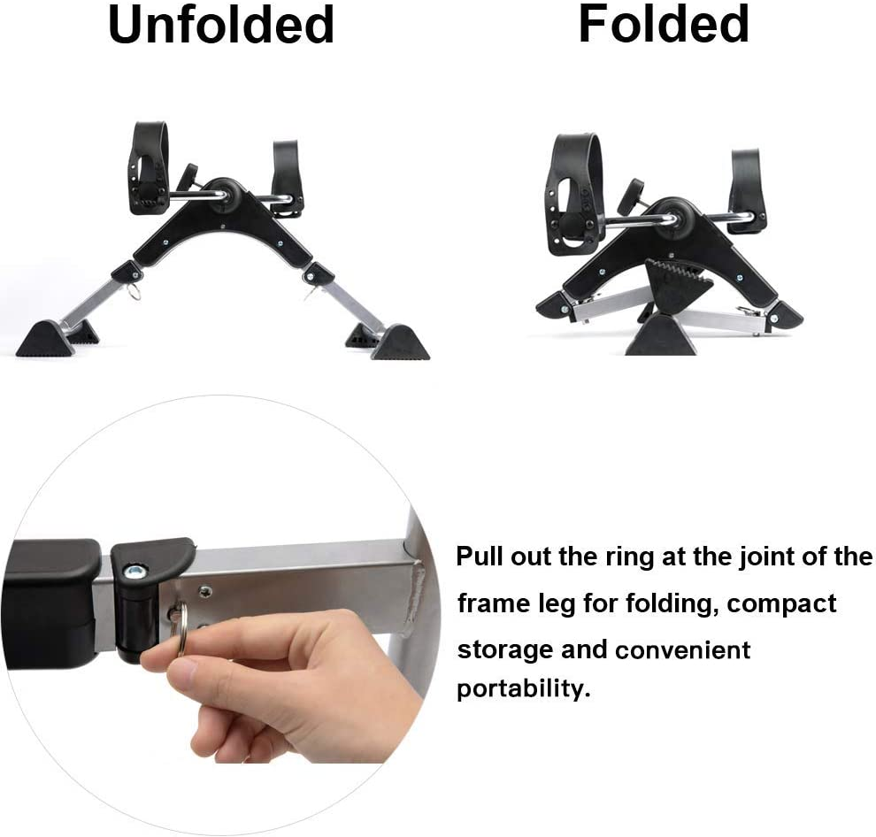 DECELI Under Desk Bike Pedal Exerciser-Folding Portable Exercise Peddler with Electronic Display for Legs and Arms Workout(Black): Health & Personal Care