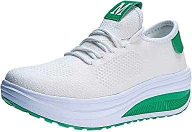 Zapatillas Deportivas De Mujer Air Cordones Zapatillas De Running Fitness Sneakers Zapatos Planas De Mujer Zapato Deportivo Casual para Mujer Calzado Moda (Verde, EU:38 24. 5cm /9.7