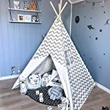 Kids Teepee Tent for Boys, Children Play Tent for Indoor & Garden, (Grey Chevron 150cm Tall) by Tiny Land