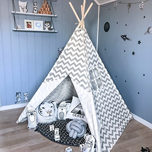 Tiny Land Teepee Tent for Kids, Children Play Tent for Indoor & Outdoor, 5' Gray Chevron Cotton Canvas Teepee