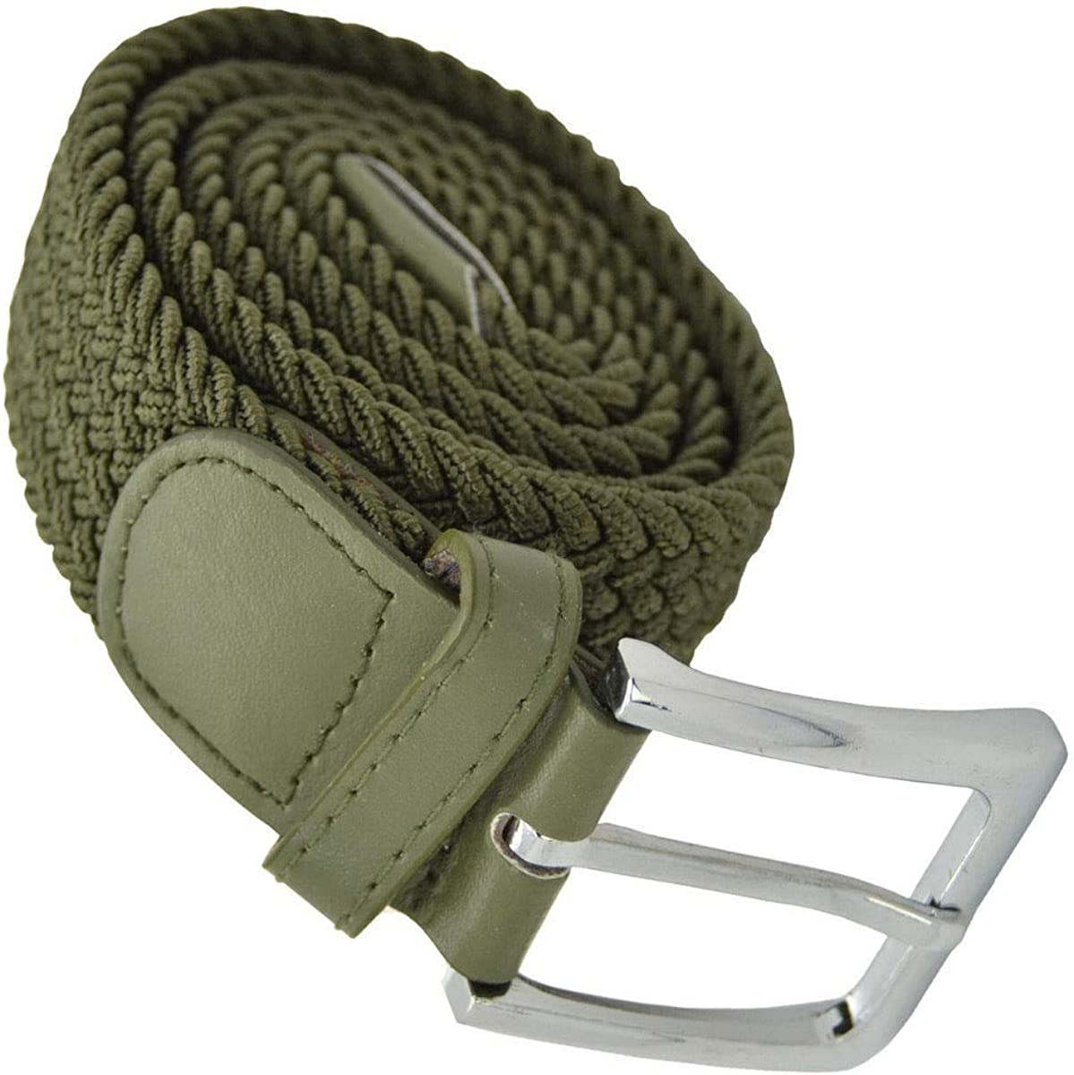 Top Men Elastic Fabric Woven Belt Expandable Braided Stretch Belt XL Olive #AAAS