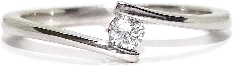 Never Say Never Solitario de Oro Blanco de 18k con un Diamante de 0.11cts de Impresionante Color H y pureza VS para tu sortija de pedida, sortija de Novia.