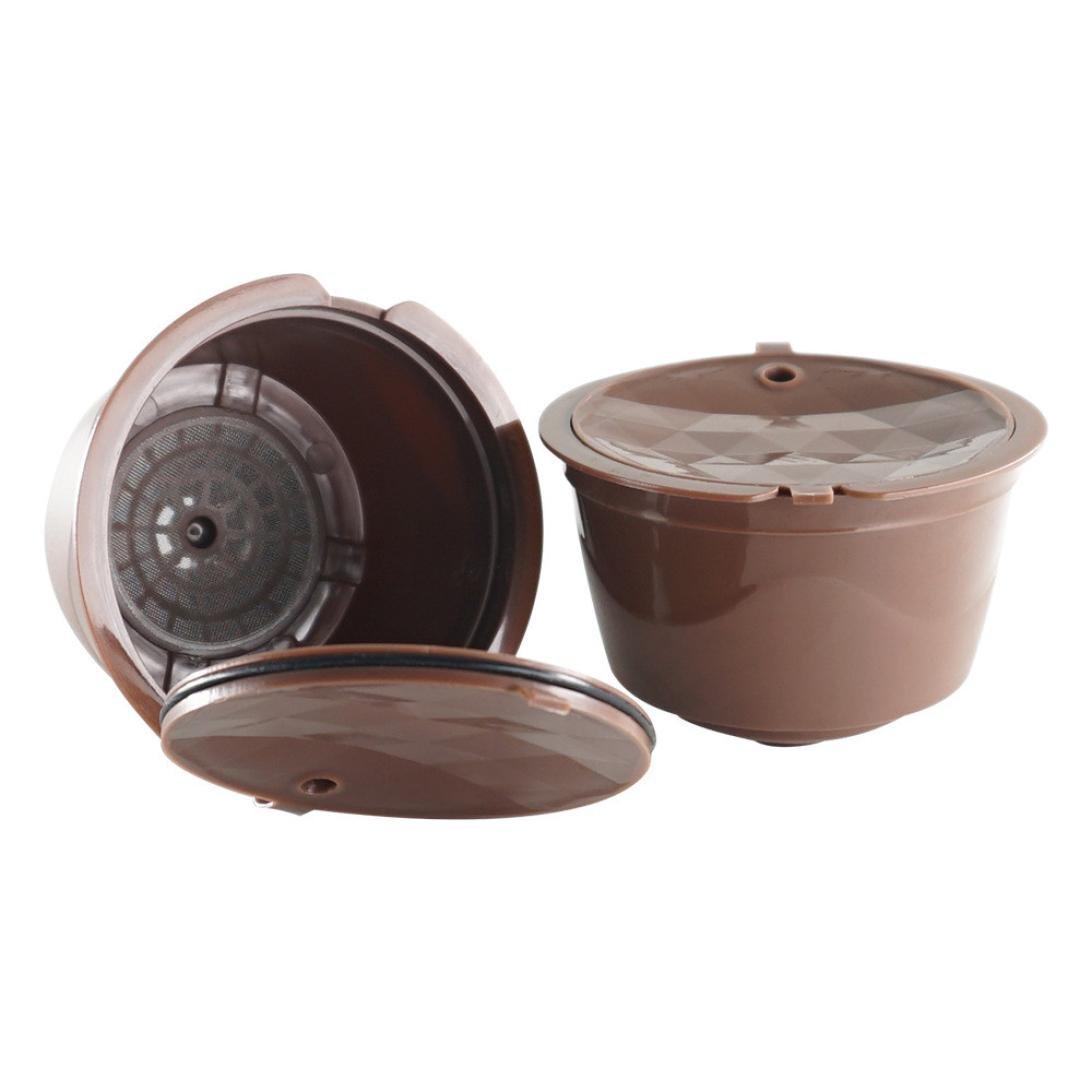 Winkey 1filtre à café, capsule à café rechargeable, réutilisable, pour Dolce Gusto, Nescafe  mouth width 53mm height 36mm marron